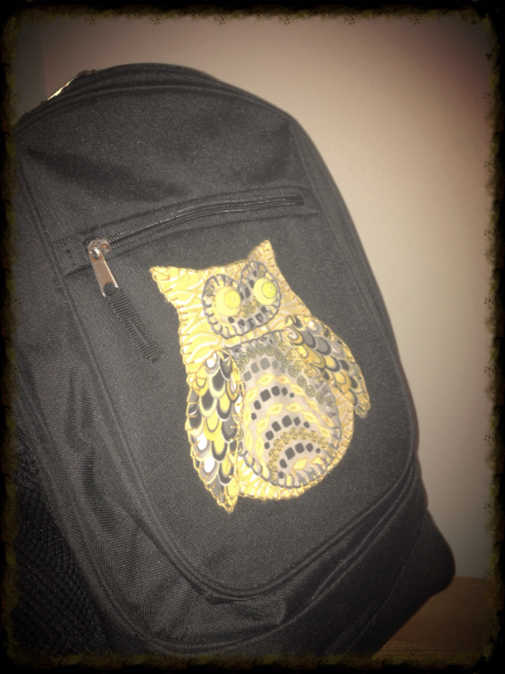 Owl applique backpack 2